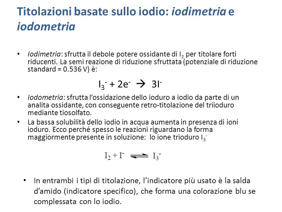 Titolazioni basate sullo iodio: iodimetria e iodometria Iodimetria: sfrutta il debole potere ossidante di I 2 per titolare forti riducenti.