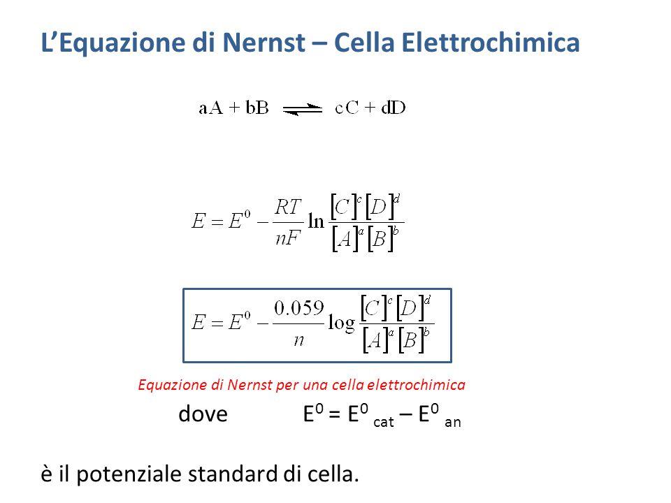 dove E 0 = E 0 cat – E 0 an è il potenziale standard di cella.
