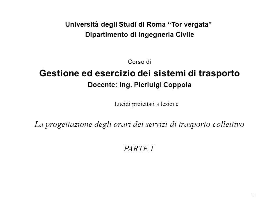1 Università degli Studi di Roma Tor vergata Dipartimento di Ingegneria Civile Corso di Gestione ed esercizio dei sistemi di trasporto Docente: Ing.