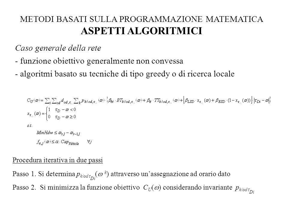 METODI BASATI SULLA PROGRAMMAZIONE MATEMATICA ASPETTI ALGORITMICI Caso generale della rete - funzione obiettivo generalmente non convessa - algoritmi basato su tecniche di tipo greedy o di ricerca locale Procedura iterativa in due passi Passo 1.