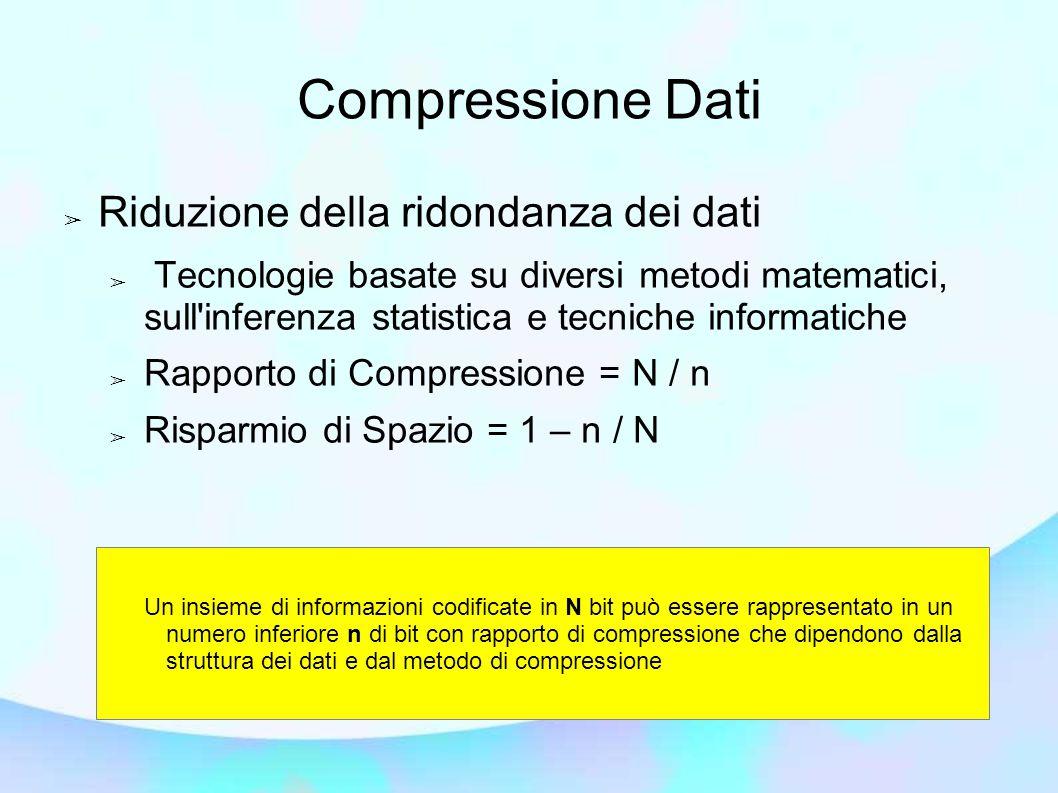 Compressione Dati ➢ Riduzione della ridondanza dei dati ➢ Tecnologie basate su diversi metodi matematici, sull inferenza statistica e tecniche informatiche ➢ Rapporto di Compressione = N / n ➢ Risparmio di Spazio = 1 – n / N Un insieme di informazioni codificate in N bit può essere rappresentato in un numero inferiore n di bit con rapporto di compressione che dipendono dalla struttura dei dati e dal metodo di compressione