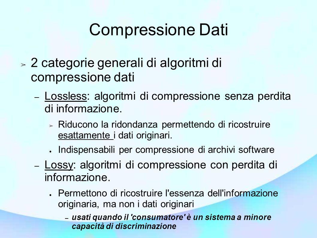 Compressione Dati ➢ 2 categorie generali di algoritmi di compressione dati – Lossless: algoritmi di compressione senza perdita di informazione.
