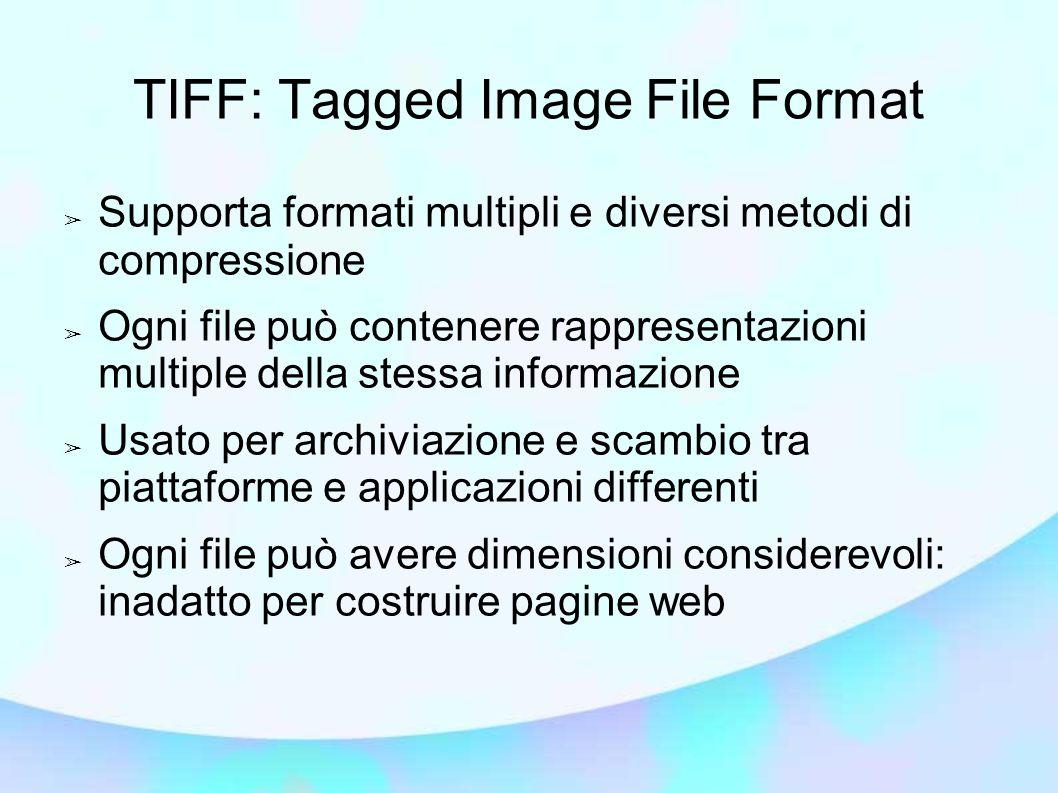 TIFF: Tagged Image File Format ➢ Supporta formati multipli e diversi metodi di compressione ➢ Ogni file può contenere rappresentazioni multiple della stessa informazione ➢ Usato per archiviazione e scambio tra piattaforme e applicazioni differenti ➢ Ogni file può avere dimensioni considerevoli: inadatto per costruire pagine web