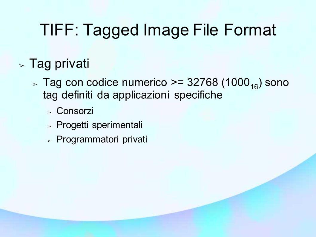 TIFF: Tagged Image File Format ➢ Tag privati ➢ Tag con codice numerico >= 32768 (1000 16 ) sono tag definiti da applicazioni specifiche ➢ Consorzi ➢ Progetti sperimentali ➢ Programmatori privati