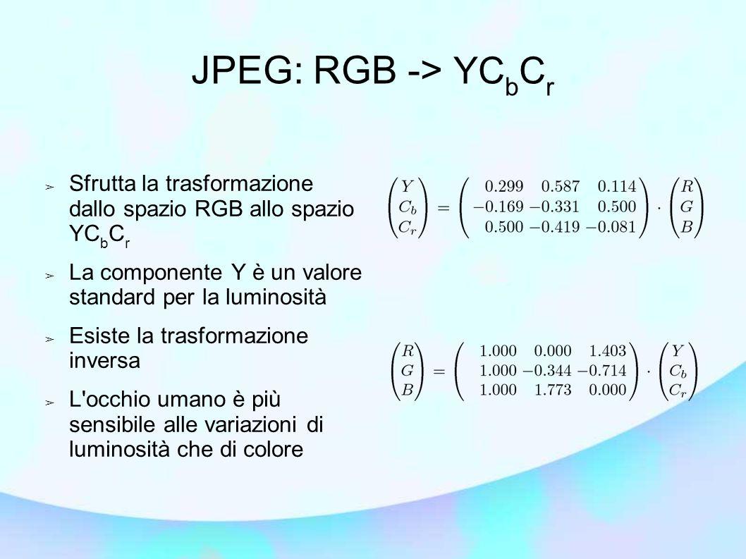 JPEG: RGB -> YC b C r ➢ Sfrutta la trasformazione dallo spazio RGB allo spazio YC b C r ➢ La componente Y è un valore standard per la luminosità ➢ Esiste la trasformazione inversa ➢ L occhio umano è più sensibile alle variazioni di luminosità che di colore