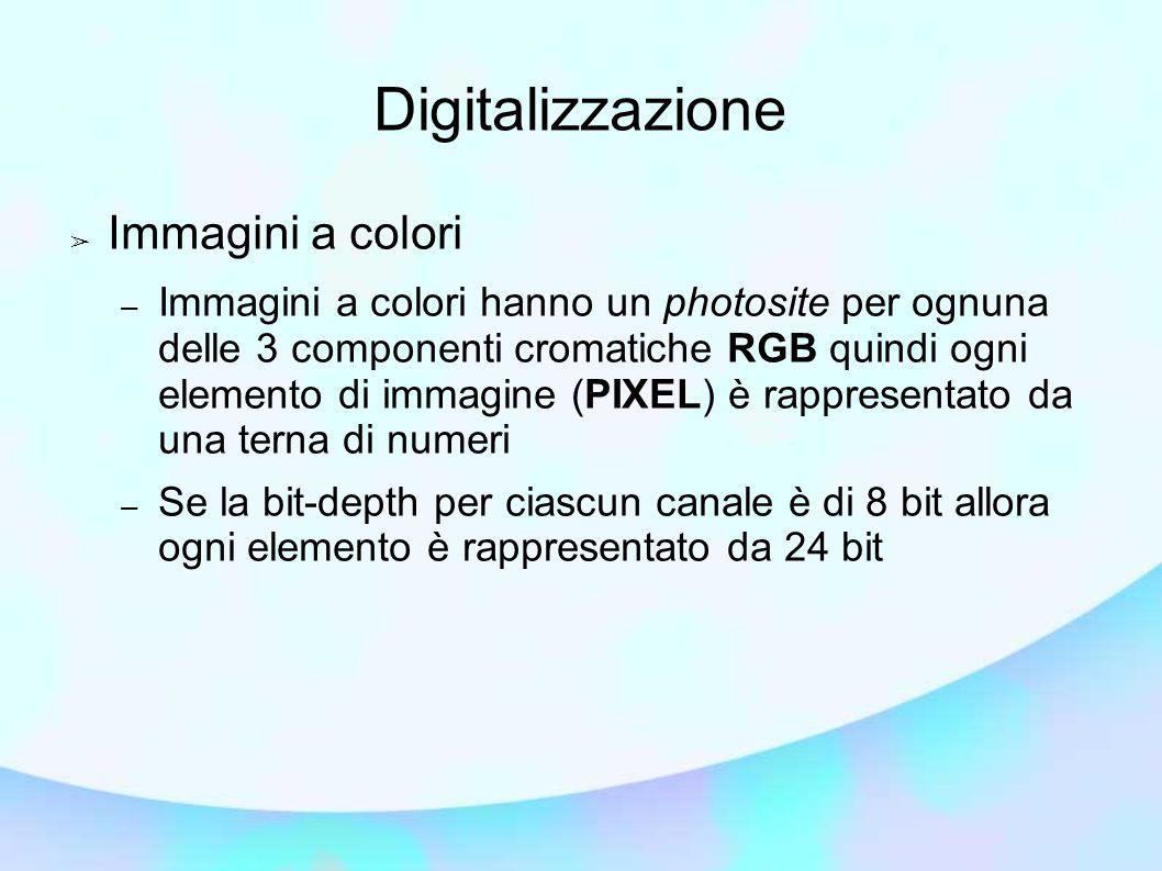 Digitalizzazione ➢ Immagini a colori – Immagini a colori hanno un photosite per ognuna delle 3 componenti cromatiche RGB quindi ogni elemento di immagine (PIXEL) è rappresentato da una terna di numeri – Se la bit-depth per ciascun canale è di 8 bit allora ogni elemento è rappresentato da 24 bit