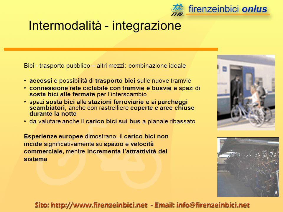 Bici - trasporto pubblico – altri mezzi: combinazione ideale accessi e possibilità di trasporto bici sulle nuove tramvie connessione rete ciclabile co