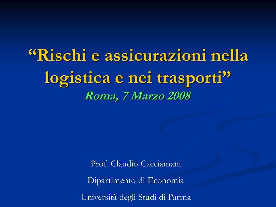 Rischi e assicurazioni nella logistica e nei trasporti Roma, 7 Marzo 2008 Prof.