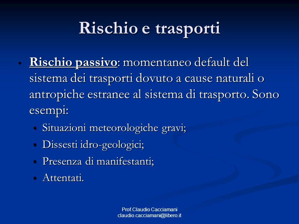 Prof.Claudio Cacciamani claudio.cacciamani@libero.it Rischio e trasporti Rischio passivo: momentaneo default del sistema dei trasporti dovuto a cause naturali o antropiche estranee al sistema di trasporto.