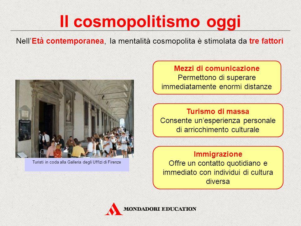 Il cosmopolitismo oggi Nell'Età contemporanea, la mentalità cosmopolita è stimolata da tre fattori Mezzi di comunicazione Permettono di superare immed