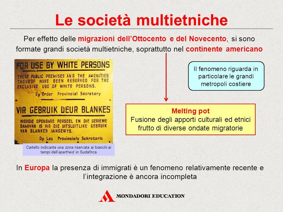 Le società multietniche Per effetto delle migrazioni dell'Ottocento e del Novecento, si sono formate grandi società multietniche, soprattutto nel cont