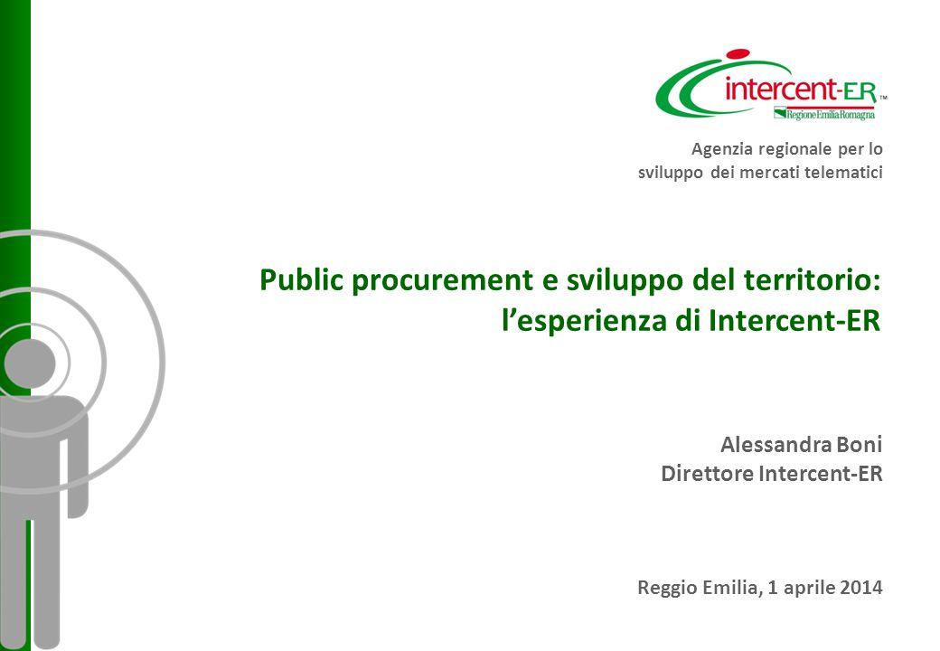 Agenzia regionale per lo sviluppo dei mercati telematici Public procurement e sviluppo del territorio: l'esperienza di Intercent-ER Alessandra Boni Direttore Intercent-ER Reggio Emilia, 1 aprile 2014
