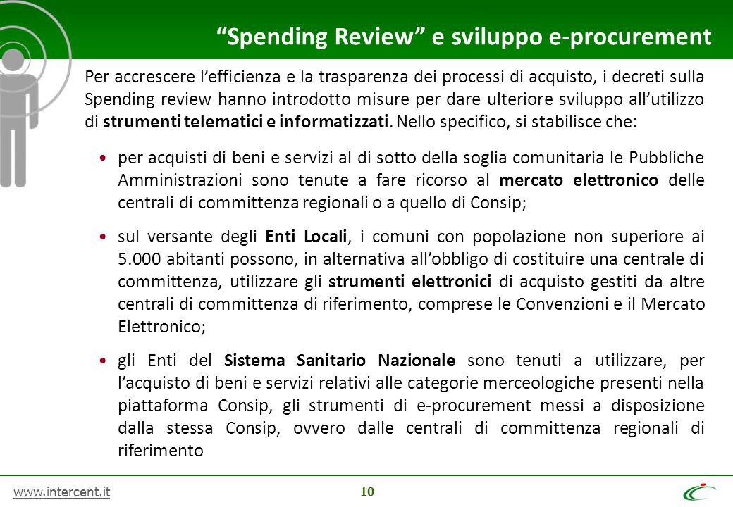 www.intercent.it 10 Per accrescere l'efficienza e la trasparenza dei processi di acquisto, i decreti sulla Spending review hanno introdotto misure per
