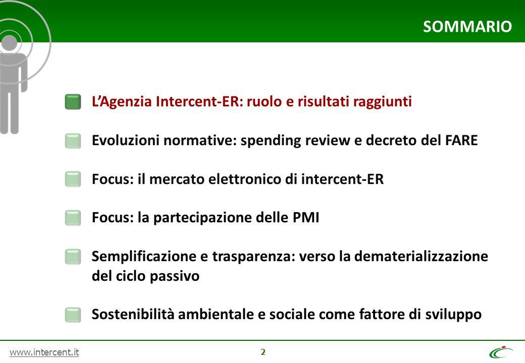 www.intercent.it 2 SOMMARIO L'Agenzia Intercent-ER: ruolo e risultati raggiunti Evoluzioni normative: spending review e decreto del FARE Focus: il mer