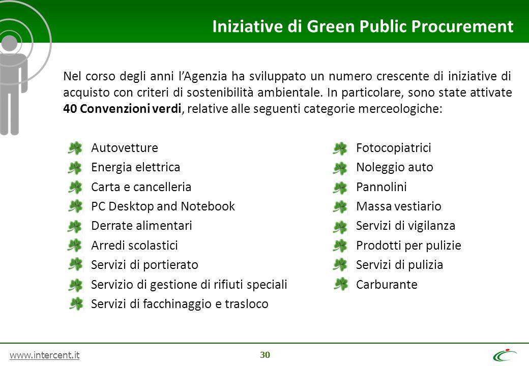 www.intercent.it 30 Iniziative di Green Public Procurement Nel corso degli anni l'Agenzia ha sviluppato un numero crescente di iniziative di acquisto con criteri di sostenibilità ambientale.