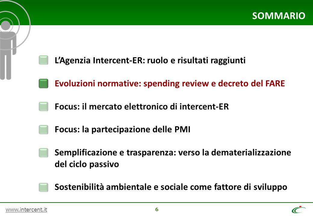 www.intercent.it 6 SOMMARIO L'Agenzia Intercent-ER: ruolo e risultati raggiunti Evoluzioni normative: spending review e decreto del FARE Focus: il mer