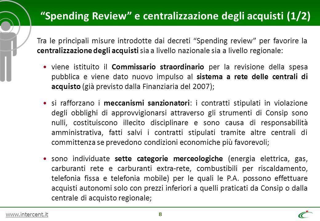 """www.intercent.it 8 Tra le principali misure introdotte dai decreti """"Spending review"""" per favorire la centralizzazione degli acquisti sia a livello naz"""