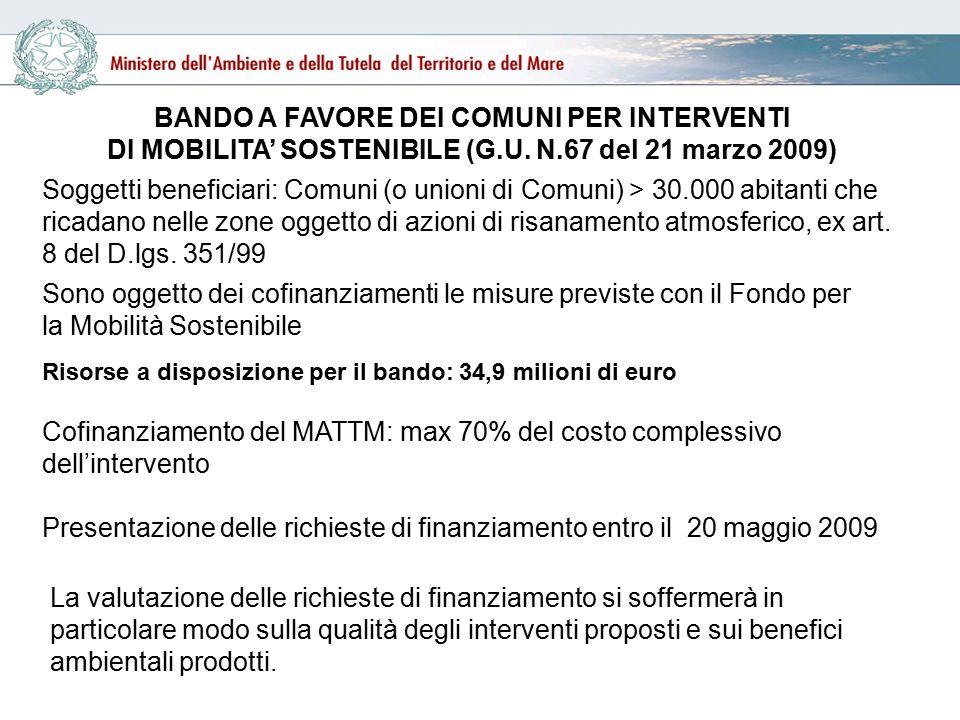 BANDO A FAVORE DEI COMUNI PER INTERVENTI DI MOBILITA' SOSTENIBILE (G.U.