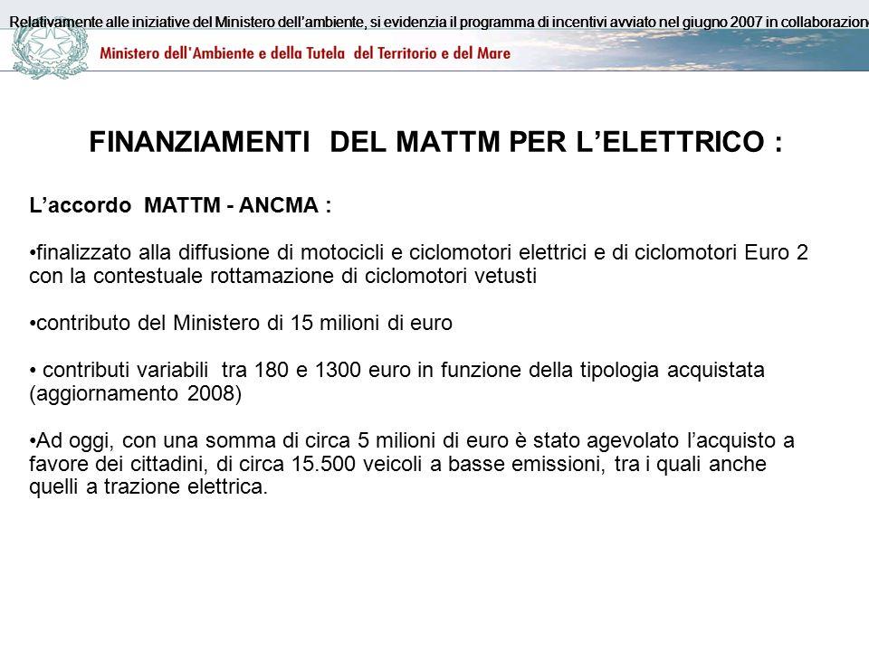FINANZIAMENTI DEL MATTM PER L'ELETTRICO : L'accordo MATTM - ANCMA : finalizzato alla diffusione di motocicli e ciclomotori elettrici e di ciclomotori Euro 2 con la contestuale rottamazione di ciclomotori vetusti contributo del Ministero di 15 milioni di euro contributi variabili tra 180 e 1300 euro in funzione della tipologia acquistata (aggiornamento 2008) Ad oggi, con una somma di circa 5 milioni di euro è stato agevolato l'acquisto a favore dei cittadini, di circa 15.500 veicoli a basse emissioni, tra i quali anche quelli a trazione elettrica.