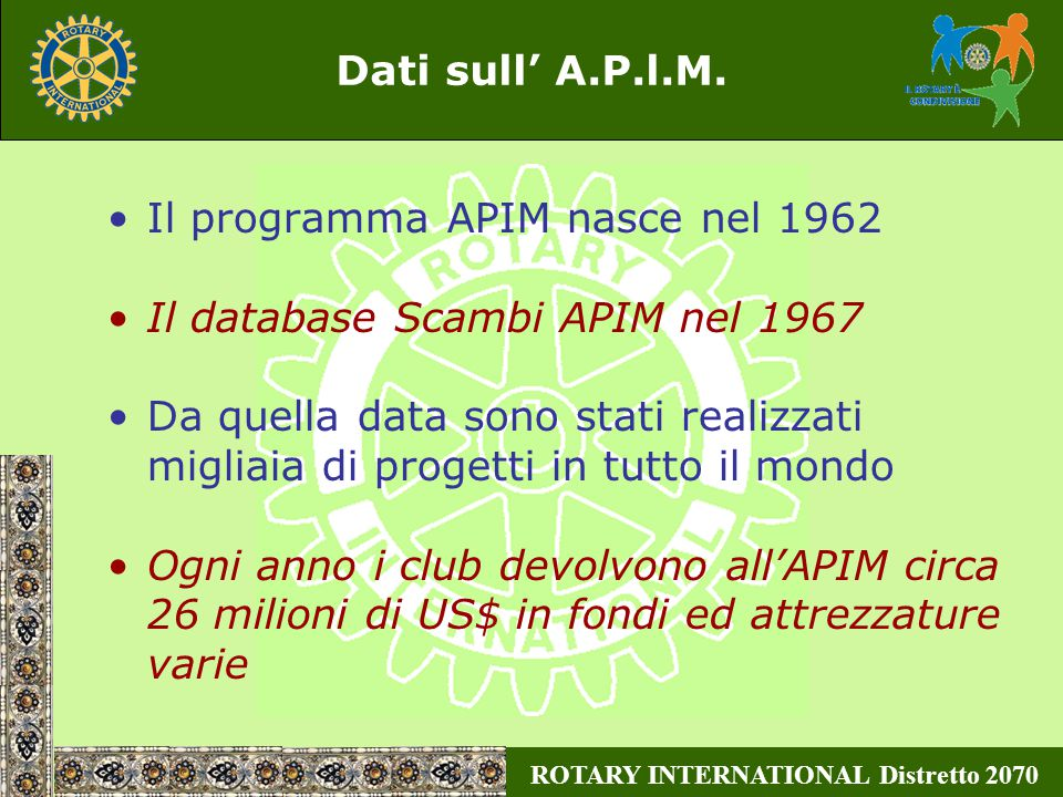ROTARY INTERNATIONAL Distretto 2070 Dati sull' A.P.l.M.