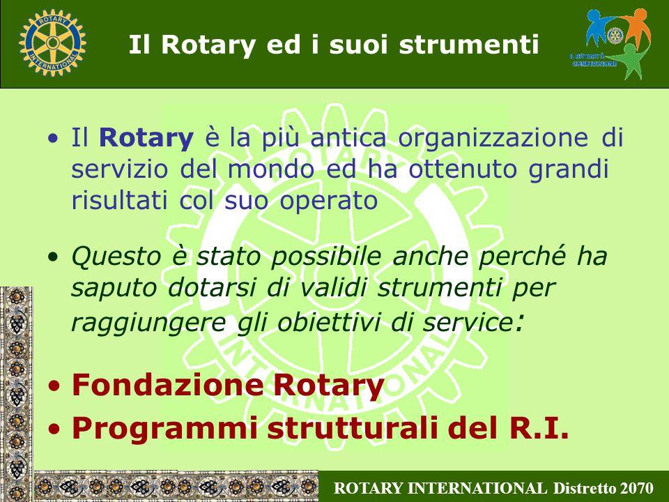 ROTARY INTERNATIONAL Distretto 2070 Concludendo Tutto ciò è possibile grazie: all'impegno ed alla generosità dei rotariani alla validità dello strumento A.P.I.M.