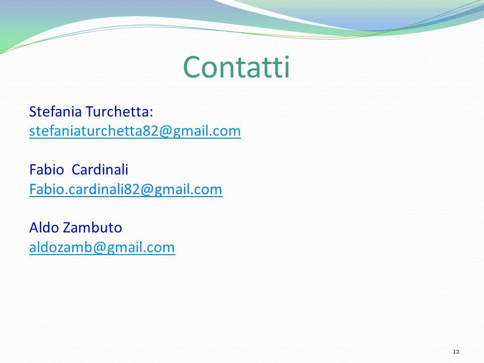 Contatti Stefania Turchetta: stefaniaturchetta82@gmail.com Fabio Cardinali Fabio.cardinali82@gmail.com Aldo Zambuto aldozamb@gmail.com 12