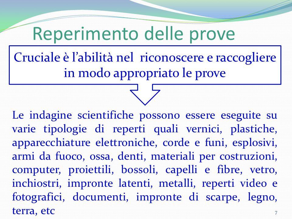 Reperimento delle prove Le indagine scientifiche possono essere eseguite su varie tipologie di reperti quali vernici, plastiche, apparecchiature elett