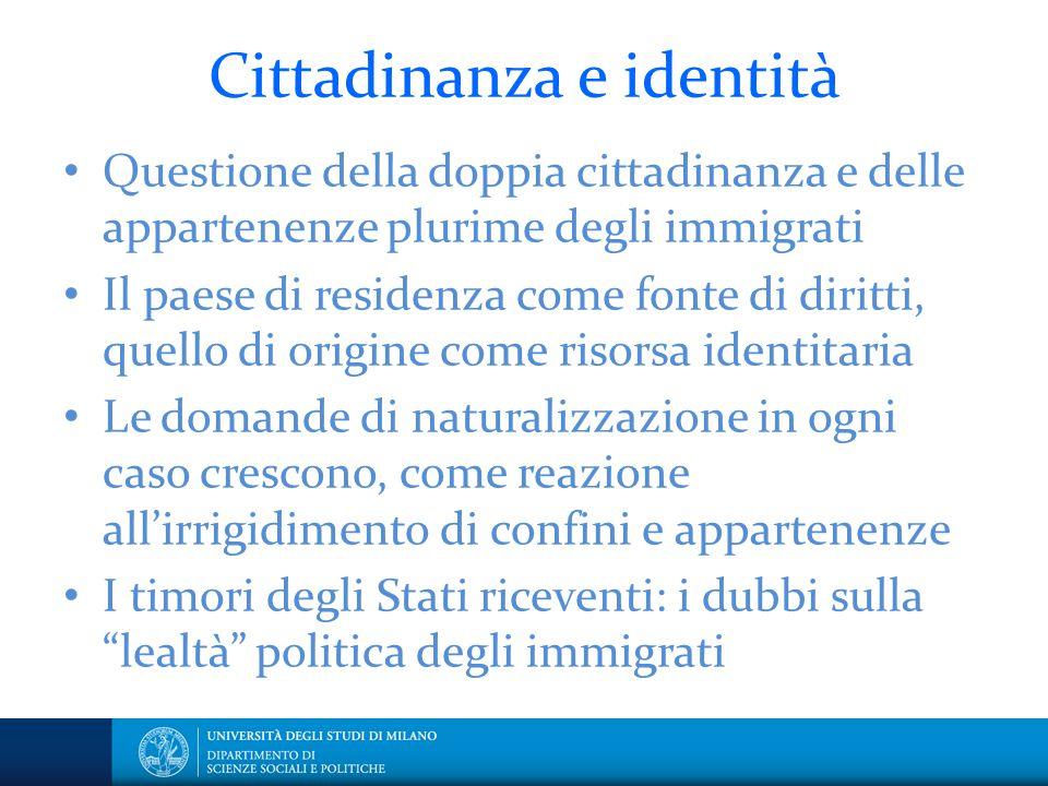 Cittadinanza e identità Questione della doppia cittadinanza e delle appartenenze plurime degli immigrati Il paese di residenza come fonte di diritti,