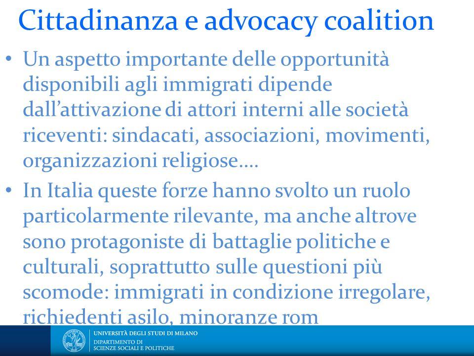Cittadinanza e advocacy coalition Un aspetto importante delle opportunità disponibili agli immigrati dipende dall'attivazione di attori interni alle s