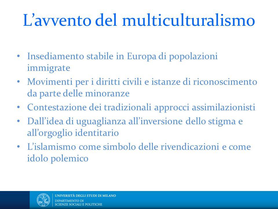 L'avvento del multiculturalismo Insediamento stabile in Europa di popolazioni immigrate Movimenti per i diritti civili e istanze di riconoscimento da
