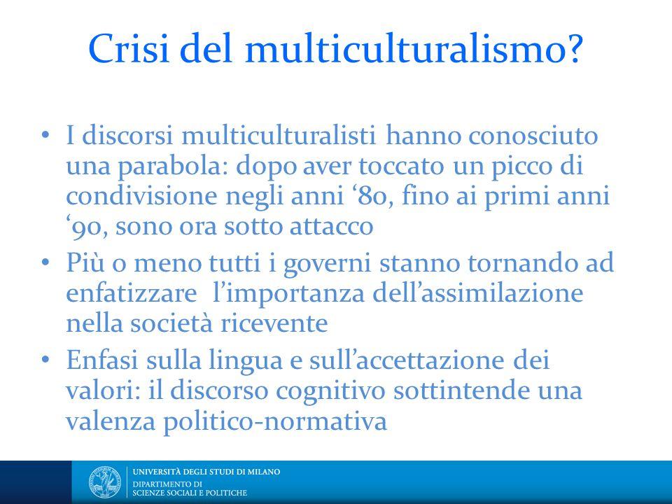 Crisi del multiculturalismo? I discorsi multiculturalisti hanno conosciuto una parabola: dopo aver toccato un picco di condivisione negli anni '80, fi