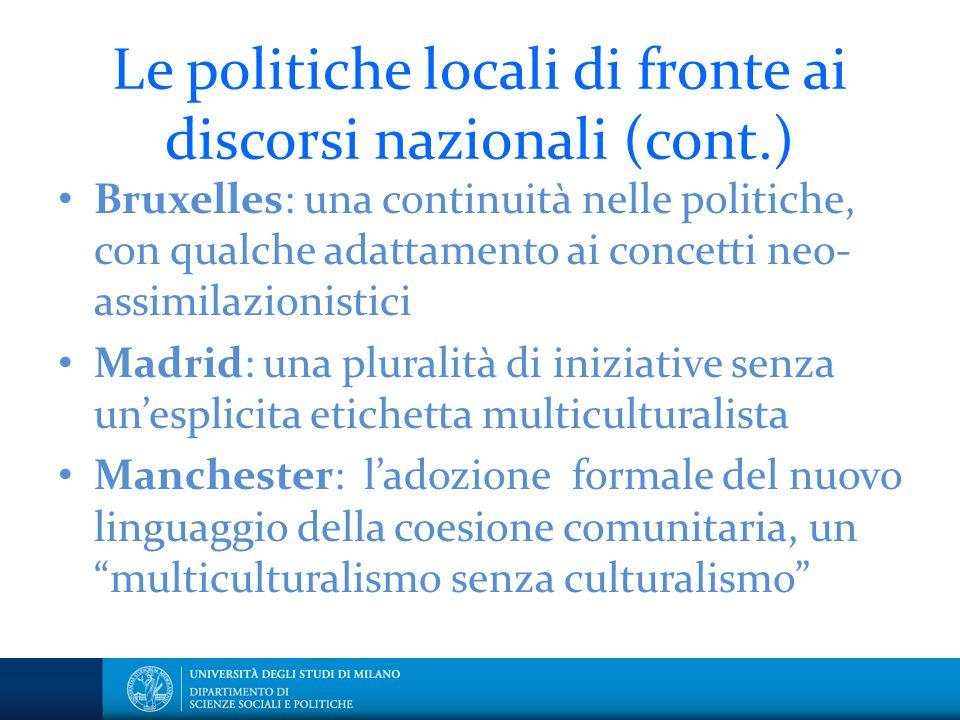 Le politiche locali di fronte ai discorsi nazionali (cont.) Bruxelles: una continuità nelle politiche, con qualche adattamento ai concetti neo- assimi