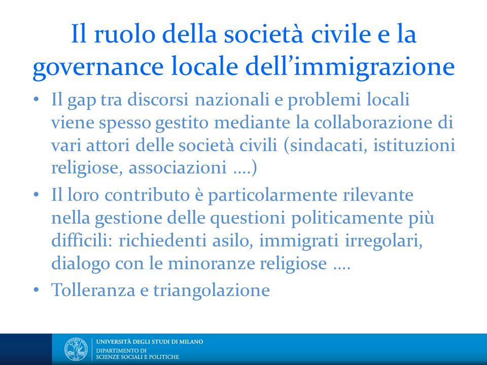 Il ruolo della società civile e la governance locale dell'immigrazione Il gap tra discorsi nazionali e problemi locali viene spesso gestito mediante l