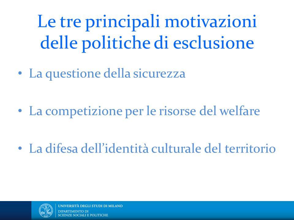 Le tre principali motivazioni delle politiche di esclusione La questione della sicurezza La competizione per le risorse del welfare La difesa dell'ide