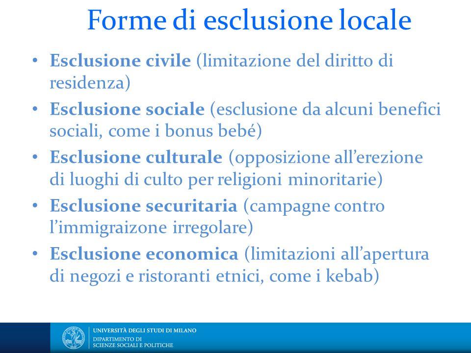 Forme di esclusione locale Esclusione civile (limitazione del diritto di residenza) Esclusione sociale (esclusione da alcuni benefici sociali, come i