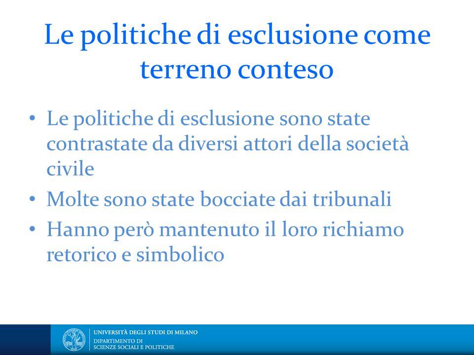 Le politiche di esclusione come terreno conteso Le politiche di esclusione sono state contrastate da diversi attori della società civile Molte sono st