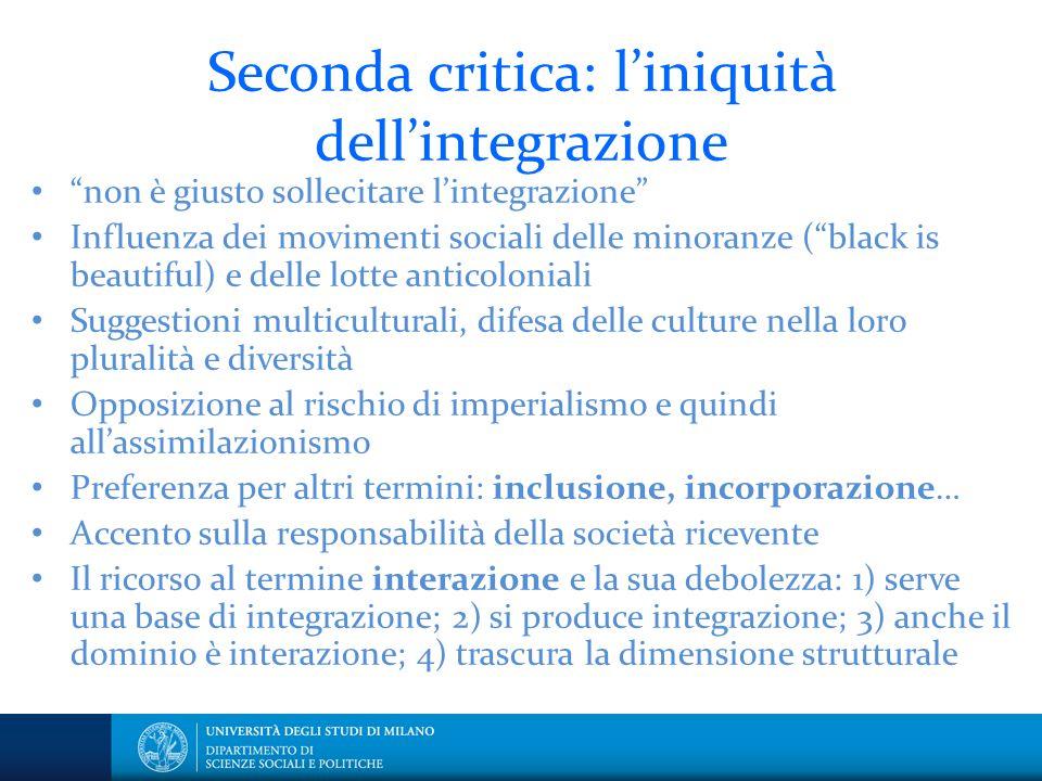 """Seconda critica: l'iniquità dell'integrazione """"non è giusto sollecitare l'integrazione"""" Influenza dei movimenti sociali delle minoranze (""""black is bea"""