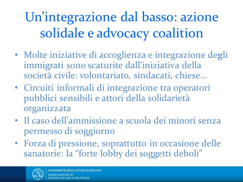 Un'integrazione dal basso: azione solidale e advocacy coalition Molte iniziative di accoglienza e integrazione degli immigrati sono scaturite dall'ini