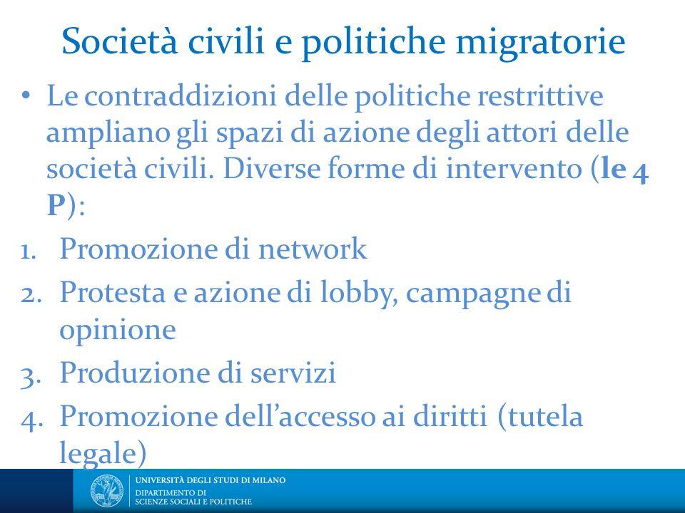 Società civili e politiche migratorie Le contraddizioni delle politiche restrittive ampliano gli spazi di azione degli attori delle società civili. Di