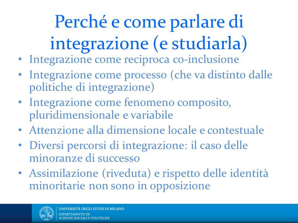 Perché e come parlare di integrazione (e studiarla) Integrazione come reciproca co-inclusione Integrazione come processo (che va distinto dalle politi