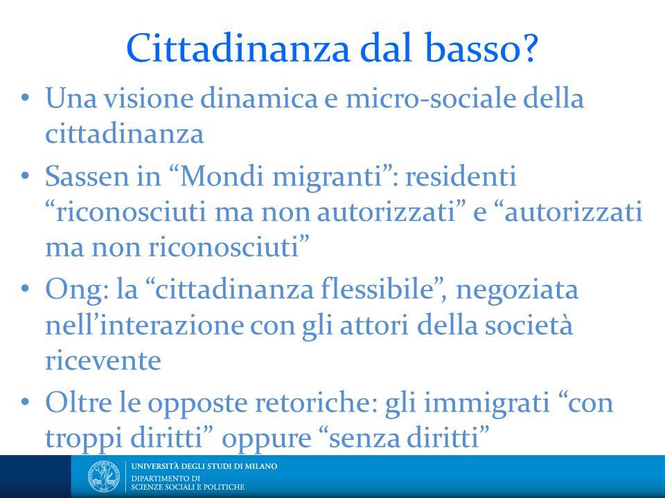 """Cittadinanza dal basso? Una visione dinamica e micro-sociale della cittadinanza Sassen in """"Mondi migranti"""": residenti """"riconosciuti ma non autorizzati"""