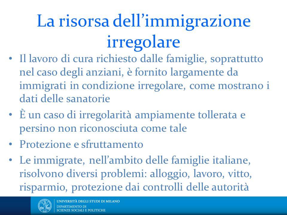 La risorsa dell'immigrazione irregolare Il lavoro di cura richiesto dalle famiglie, soprattutto nel caso degli anziani, è fornito largamente da immigr