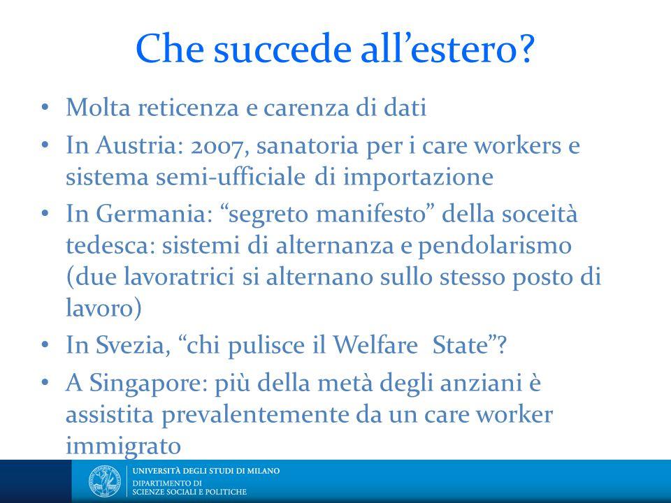Che succede all'estero? Molta reticenza e carenza di dati In Austria: 2007, sanatoria per i care workers e sistema semi-ufficiale di importazione In G