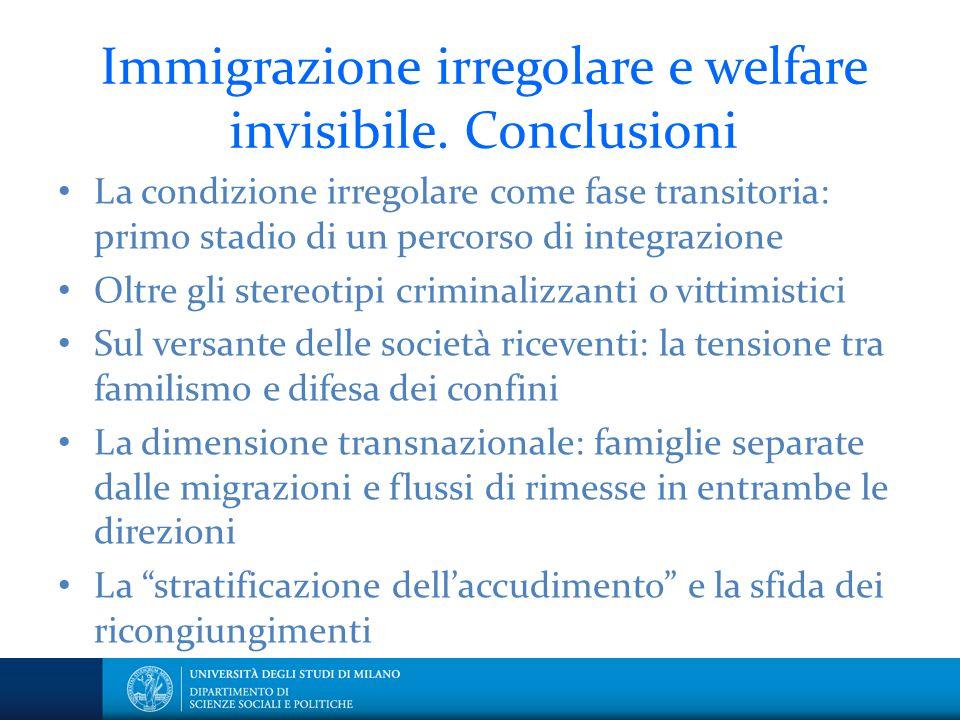 Immigrazione irregolare e welfare invisibile. Conclusioni La condizione irregolare come fase transitoria: primo stadio di un percorso di integrazione