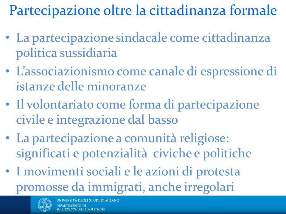 Partecipazione oltre la cittadinanza formale La partecipazione sindacale come cittadinanza politica sussidiaria L'associazionismo come canale di espre