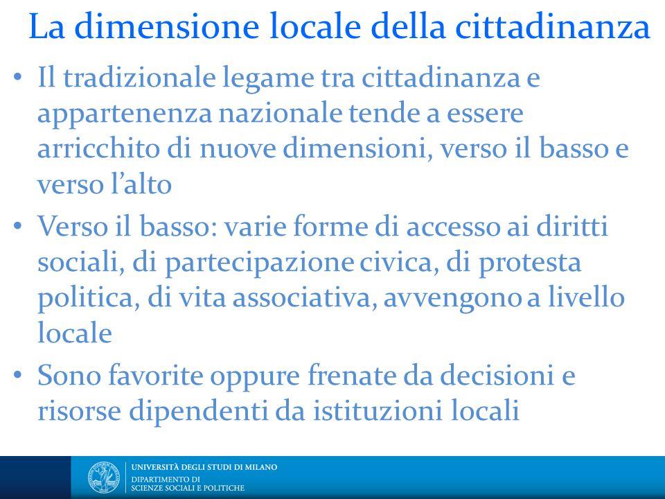 La dimensione locale della cittadinanza Il tradizionale legame tra cittadinanza e appartenenza nazionale tende a essere arricchito di nuove dimensioni