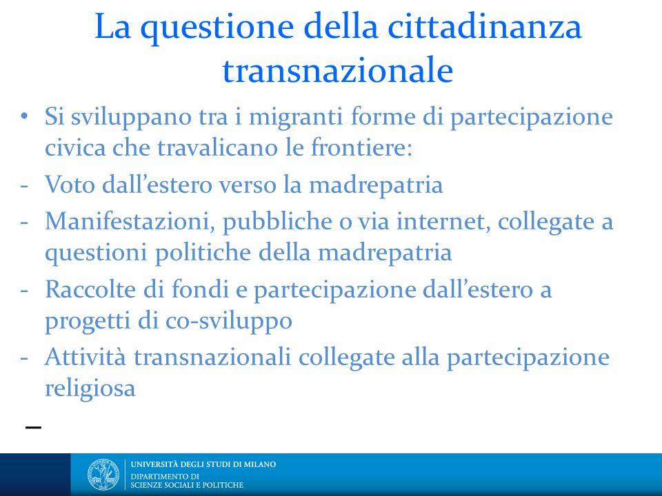 I La questione della cittadinanza transnazionale Si sviluppano tra i migranti forme di partecipazione civica che travalicano le frontiere: - Voto dall