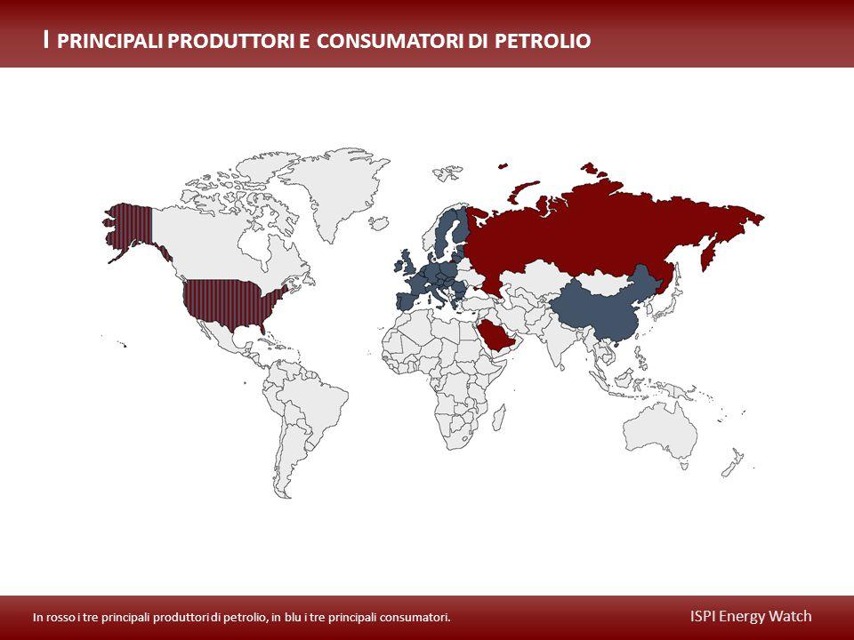 ISPI Energy Watch In rosso i tre principali produttori di petrolio, in blu i tre principali consumatori.