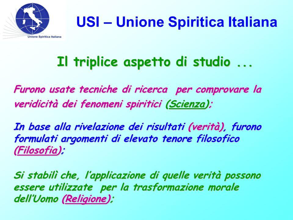 USI – Unione Spiritica Italiana Il triplice aspetto di studio... Furono usate tecniche di ricerca per comprovare la veridicità dei fenomeni spiritici