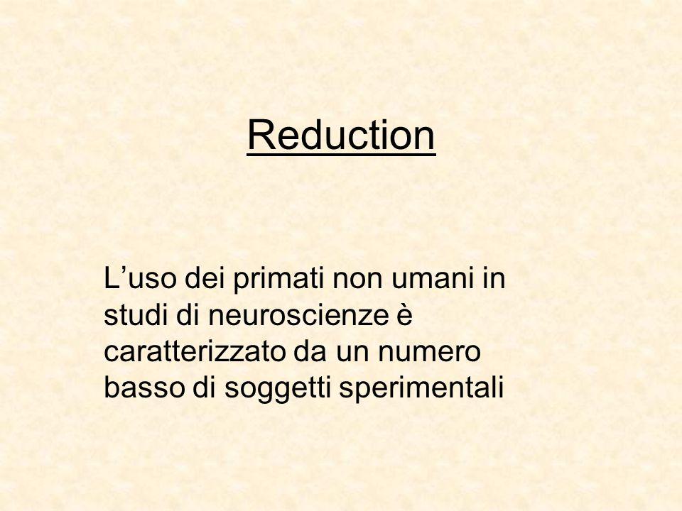 Reduction L'uso dei primati non umani in studi di neuroscienze è caratterizzato da un numero basso di soggetti sperimentali